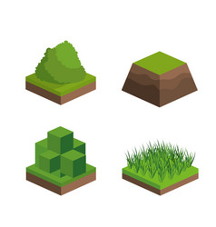 Isometric buss and grass design vector