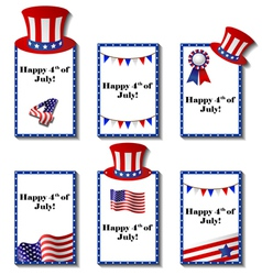 July 4 patriotic card set vector image