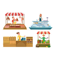 local markets fresh farm foods meat bakery and vector image