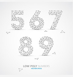 Low poly wired numbers font vector