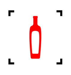 Olive oil bottle sign red icon inside vector