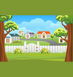 Outdoor backyard background cartoon vector
