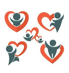 People and heartsi vector