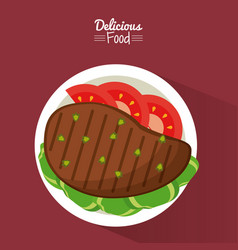 Poster delicious food in purple background with vector