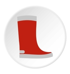 Red rubber boot icon flat style vector