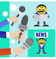 reporters with microphones of radio and vector image
