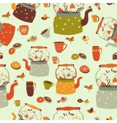 Seamless pattern background with tea related vector