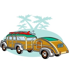 Wooden Station Wagon with trailer vector image vector image