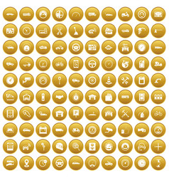 100 garage icons set gold vector