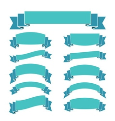 Blue ribbon banners set beautiful blank decoration vector