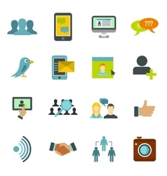 Social network icons set flat style vector