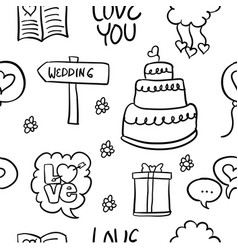 Doodle of wedding object style hand draw vector