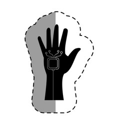 hand human with virtual reality device vector image
