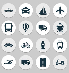 transportation icons set collection of omnibus vector image