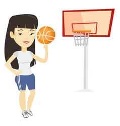 Young basketball player spinning ball vector