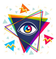 Pyramid and eye vector