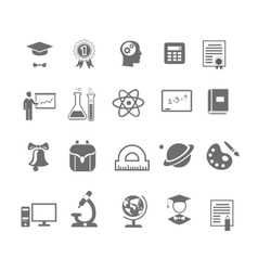 Black and white silhouette school education icons vector
