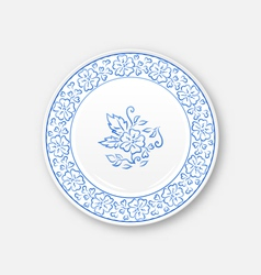 White plate with hand drawn floral ornament bezel vector