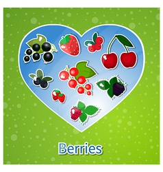 Berries heart vector