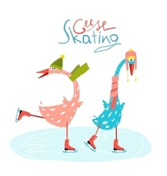 Colorful fun cartoon ice skating geese for kids vector