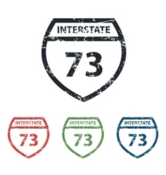 Interstate 73 grunge icon set vector