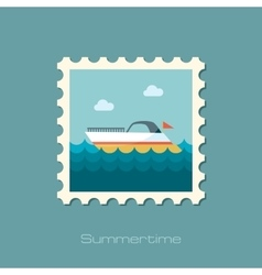 Ship boat flat stamp vector