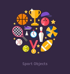 Icons and in flat design style sports equipment vector