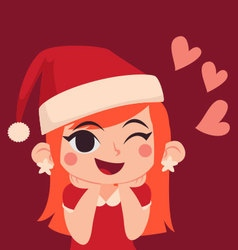 Christmas girl in love vector