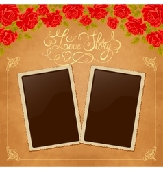 Page of photo album vintage background with old vector