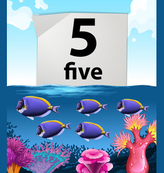 Number five and fish swimming underwater vector