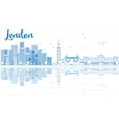 Outline london skyline with blue skyscrapers vector