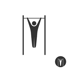 Pull up man silhouette black icon horizontal vector