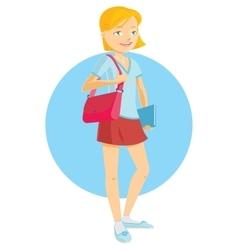 Cute teenage girl student vector