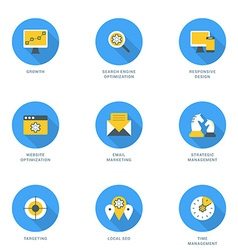 Set of flat design seo icons growth search engine vector