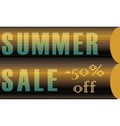 Summer sale fifty percents off striped letters vector