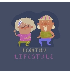 Old couple man and woman running vector