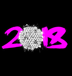 Abstract number 2018 and golf ball vector