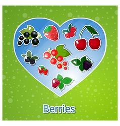 berries heart vector image vector image