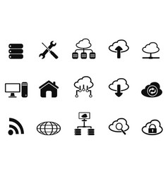 black cloud network icons set vector image