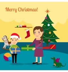 Christmas tree mother and son vector