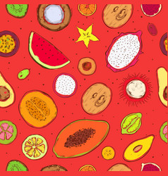 colored doodle exotic fruits seamless pattern vector image vector image