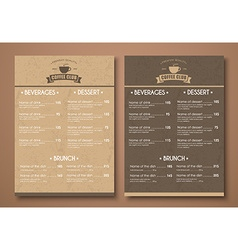 Design a menu for the cafe shops or caffeine in a vector image