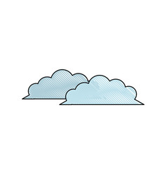 Drawing cloud weather climate ecology vector