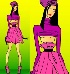 fashion model girl vector image