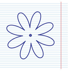 Flower sign navy line icon vector