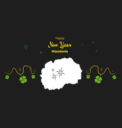 Happy new year theme with map of macedonia vector