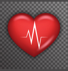 Heart beat rate pulse realistic 3d healthcare vector