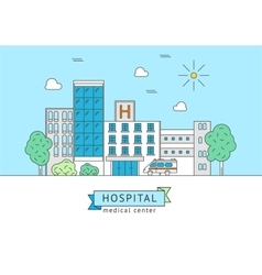 Hospital Building with Inscription Thin Line vector image vector image