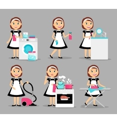 Housewife working icons vector image