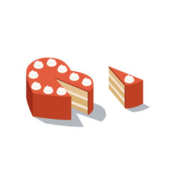 Isometric of red cake heart shape vector